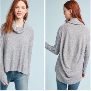 Anthro | gray rib knit cowl neck sweater size M/L